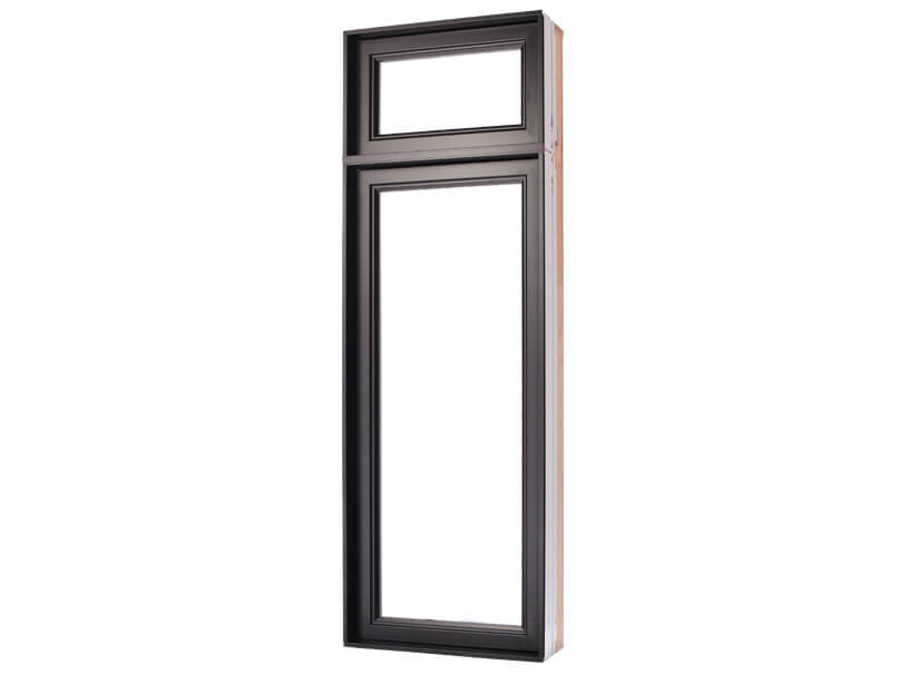 Vertical commercial brown casement window in PVC and hybrid with top transom window for your home