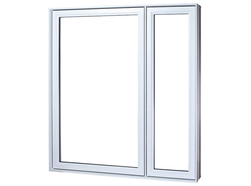 White PVC casement windows with 2 unequal sections view from the outside. Large window pane on the left, small on the right