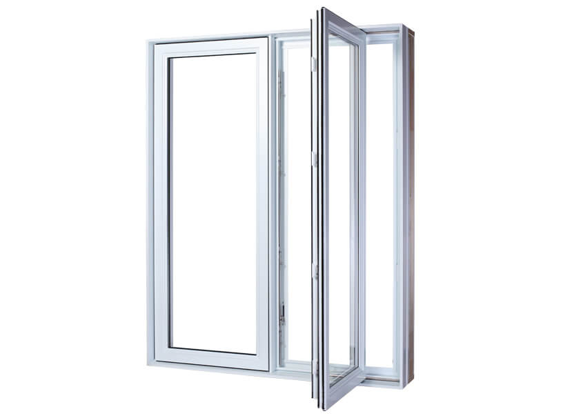 White PVC casement windows with 2 equal sections, the right one is open thanks to the 90-degree opening system