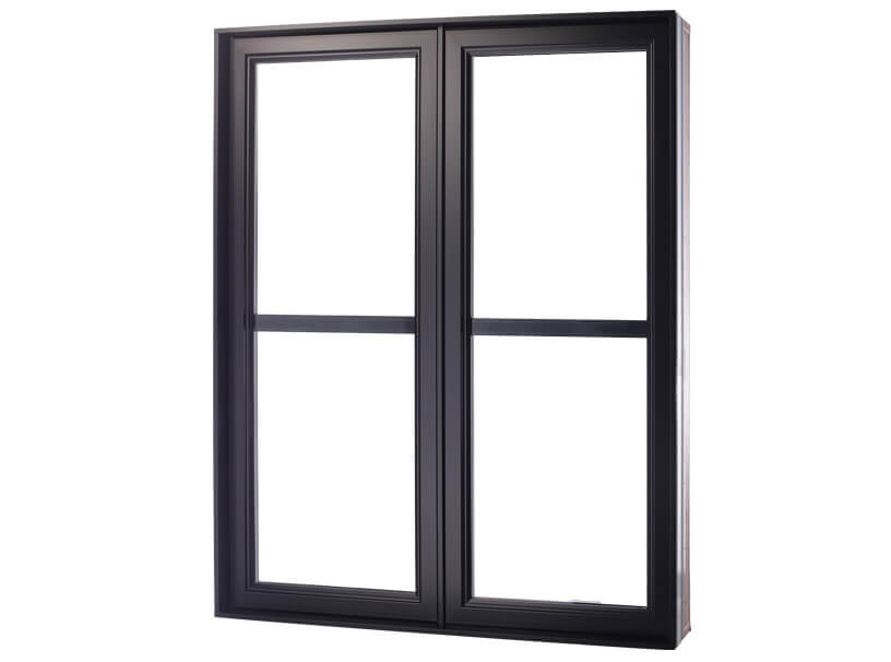 Hybrid casement windows with black horizontal crossbar in the center that separates into 4. Various styles of custom windows